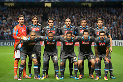MANCHESTER, ENGLAND - Wednesday, September 14, 2011: SSC Napoli pose for a team photograph prior to the UEFA Champions League Group A match at the City of Manchester Stadium. Back row L-R: goalkeeper Morgan De Sanctis, Edinson Cavani, Christian Maggio, Paolo Cannavaro, Salvatore Aronica, Hugo Campagnaro. Front row L-R: Gokhan Inler, Juan Zuniga, Walter Gargano, Marek Hamsik, Ezequiel Lavezzi. (Photo by Chris Brunskill/Propaganda)