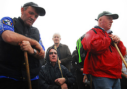 Pilgrims attend mass on the summit of Croagh Patrick on reek sunday where an estimated 20,000 made the climb...Pic Conor McKeown