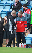 (L-R) Gillingham's manager Adrian Pennock and Charlton Athletic's manager Karl Robinson  during the EFL Sky Bet League 1 match between Gillingham and Charlton Athletic at the MEMS Priestfield Stadium, Gillingham, England on 16 September 2017. Photo by John Marsh.
