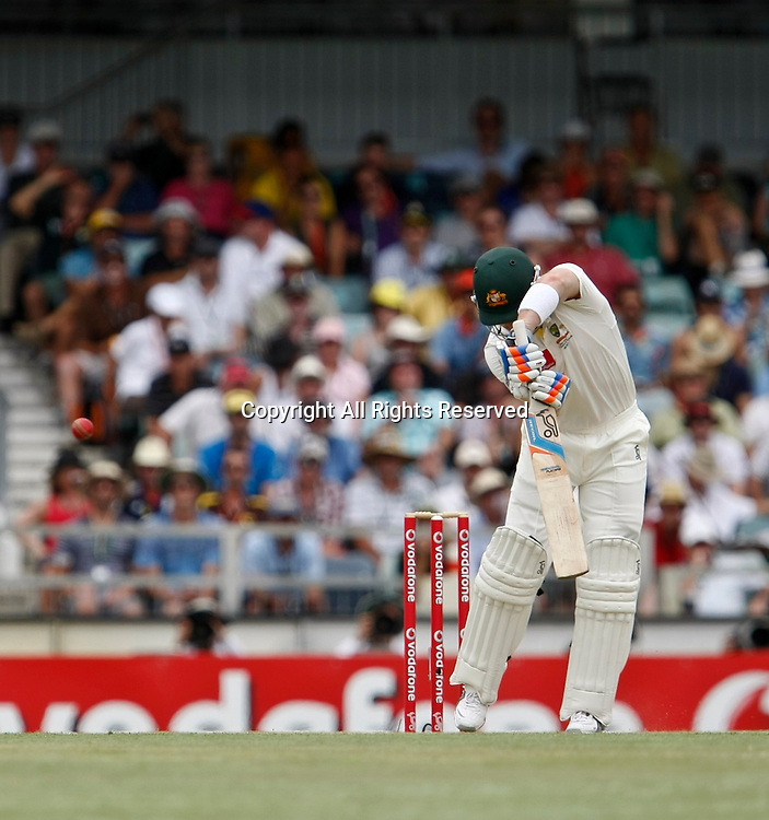 14.01.2012. Perth, Australia.  Brad Haddin snicks the ball to the keeper during the second day of the third Test between Australia and India at the WACA ground in Perth Western Australia.