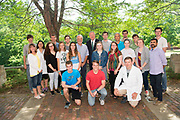 President Nellis poses for a photo with students and faculty at the Edison Biotechnology Institute.