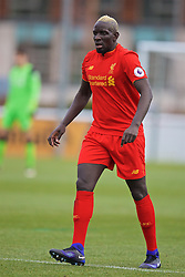 BURTON-UPON-TRENT, ENGLAND - Saturday, December 3, 2016: Liverpool's Mamadou Sakho, with dyed blonde hair, in action against Leicester City during the Premier League International Cup match at St. George's Park. (Pic by David Rawcliffe/Propaganda)