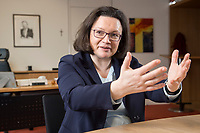 15 MAR 2018, BERLIN/GERMANY:<br /> Andrea Nahles, SPD Fraktionsvorsitzende, waehrend einem Interview, in ihrem Buero, Jakob-Kaiser-Haus, Deutscher Bundestag<br /> IMAGE: 20180315-01-022<br /> KEYWORDS: B&uuml;ro