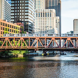 Photo of Lake Street Bridge and an elevated L train over the Chicago River in downtown Chicago. Photo is high resolution and was taken in 2012.