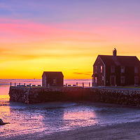 New England Kingston Bay sunrise photography of this local Rocky Nook house at Delano's Wharf in Kingston, MA. <br />