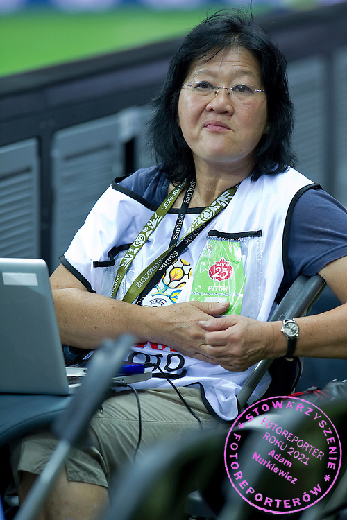 Photographer Gladys Chai von der Laage during the UEFA EURO 2012 Quarterfinal football match between Portugal and Czech Republic at National Stadium in Warsaw on June 21, 2012...Poland, Warsaw, June 21, 2012..Picture also available in RAW (NEF) or TIFF format on special request...For editorial use only. Any commercial or promotional use requires permission...Photo by © Adam Nurkiewicz / Mediasport