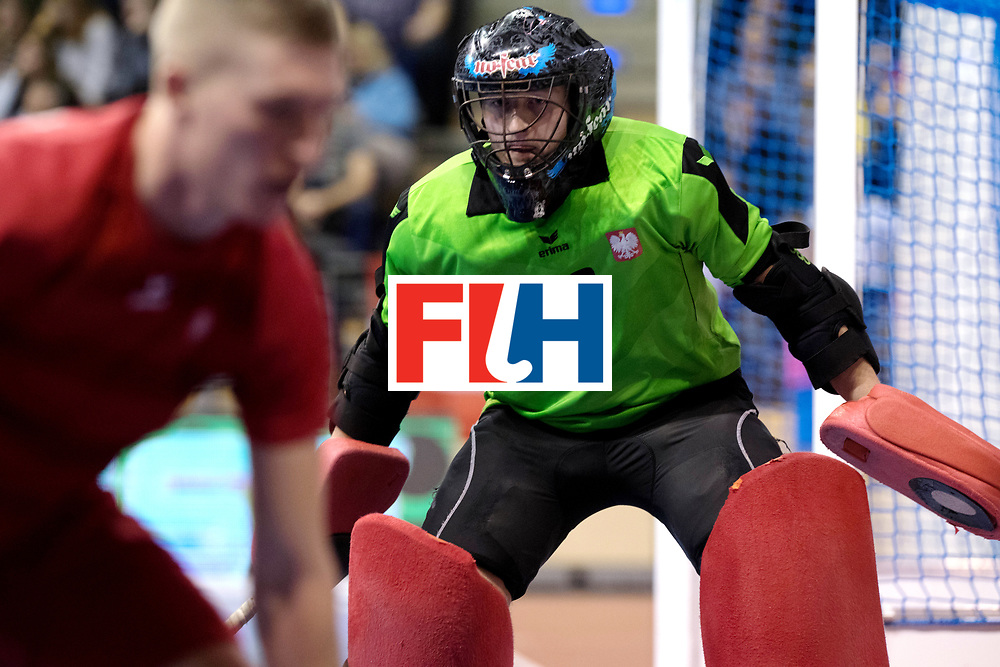 BERLIN - Indoor Hockey World Cup<br /> Quarterfinal 2: Austria - Poland<br /> foto: BANASZAK Rafal (GK).<br /> WORLDSPORTPICS COPYRIGHT FRANK UIJLENBROEK