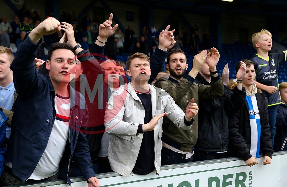Bristol Rovers fans celebrate - Mandatory by-line: Matt McNulty/JMP - 19/08/2017 - FOOTBALL - Gigg Lane - Bury, England - Bury v Bristol Rovers - Sky Bet League One