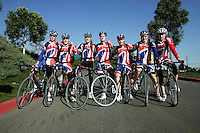 21 January 2007:  Mens indoor track cycling team for Great Brittan (GBR) line up outside the venue after the UCI Track Cycling World Cup Classics @ the Home Depot Center, Carson CA.  Riders; Jonathan Bellis, Steven Burke, Matthew Crampton, Chris Hoy, Christopher Newton, Ross Sander, Jamie Staff, Ben Swift, Andrew Tennant.