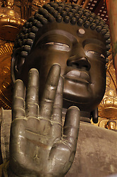 Large Buddha statue at famous Todaiji Temple in Nara Japan