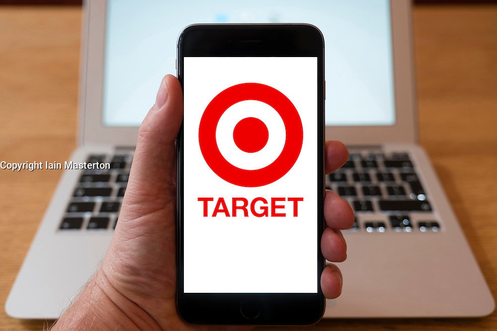 Using iPhone smartphone to display logo of Target chain of stores
