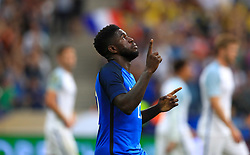 France's Samuel Umtiti celebrates scoring his side's first goal of the game