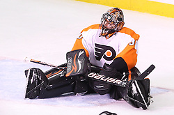 May 3, 2012; Newark, NJ, USA;  Philadelphia Flyers goalie Ilya Bryzgalov (30) reacts after a goal by New Jersey Devils left wing Ilya Kovalchuk (17)  during the first period in game three of the 2012 Eastern Conference semifinals at the Prudential Center.