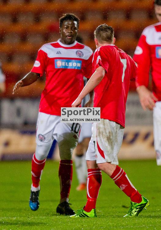 Dunfermline Athletic v Brechin City SPFL League One Season 2015/16 East End Park 05 December 2015<br /> Isaac Layne celebrates his goal<br /> CRAIG BROWN | sportPix.org.uk