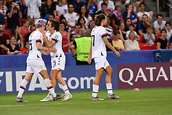 June 28, 2019 - Paris, ile de france, France - Megan RAPINOE (USA) and Kelley O HARA (USA) in celebrate the goal during the second period of the quarter-final between FRANCE vs USA in the 2019 women's football World cup at Parc des Princes in Paris, on the 28 June 2019. (Credit Image: © Julien Mattia/NurPhoto via ZUMA Press)