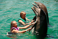 trained dolphins swimming with visitors at Ocean World, Puerto Plata, Dominican Republic