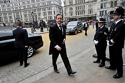 © Licensed to London News Pictures. 17 April 2013. St Paul's Cathedral London. PM David Cameron arrives for the Funeral of Baroness Thatcher, former Conservative Prime Minister. Photo credit : MarkHemsworth/LNP