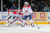 KELOWNA, CANADA - NOVEMBER 7: Garret Hughson #30 defends the net as Jason Fram #2 of Spokane Chiefs blocks a pass against the Kelowna Rockets  on November 7, 2014 at Prospera Place in Kelowna, British Columbia, Canada.  (Photo by Marissa Baecker/Shoot the Breeze)  *** Local Caption *** Garret Hughson; Jason Fram;