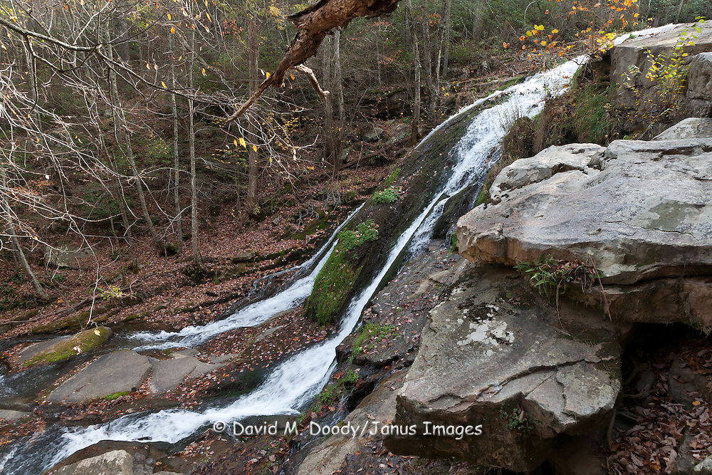 Roaring Run Creek and falls in late Autumn. George Washington and Jefferson National Forests,  Botetourt County Virginia