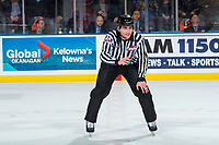 KELOWNA, CANADA - JANUARY 26: Line official Tim Plamondon stands at center ice for the puck drop between the Kelowna Rockets and Vancouver Giants  on January 26, 2019 at Prospera Place in Kelowna, British Columbia, Canada.  (Photo by Marissa Baecker/Shoot the Breeze)