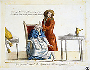 French Revolution 1789. Anti-clerical caricature on confiscation of wealth of the Church. Physician is saying to cleric 'Monsignor you are going to be purged of all riches for your own Salvation'. Contemporary hand-coloured engraving.