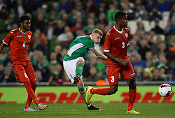 Ireland's James McClean shoots on goal - Mandatory by-line: Ken Sutton/JMP - 31/08/2016 - FOOTBALL - Aviva Stadium - Dublin,  - Republic of Ireland v Oman -