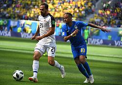 June 22, 2018 - SãO Petersburgo, Rússia - SÃO PETERSBURGO, MO - 22.06.2018: BRAZIL VS. COSTA RICA - Russia, St. Petersburg, on June 22, 2018. 2018 FIFA World Cup Russia. The match of the group stage of the FIFA World Cup - 2018 between national teams of Brazil and Costa Rica. In the picture: the player of Brazil Neymar and the player Costa - Ricky Marcos Ureña. (Credit Image: © Andrey Pronin/Fotoarena via ZUMA Press)