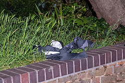 © Licensed to London News Pictures. 13/05/2020. London, UK. Items of clothing sit on a wall inside a cordon on Vicarage Crescent where police found two injured men. Police were called at around 1800BST on Wednesday, 13 May, to reports of a man with a knife in Lombard Road, SW11. There were also reports of a car in collision with a wall in Lombard Road. Officers attended the location and found two men injured - one had cuts to his arms and the other cuts to his legs. Officers believed the two men had been travelling in the car. Both have been taken to hospital, where their injuries are not believed to be life-threatening. Investigations at the scene led officers to Vicarage Crescent, SW11, where they found two other injured men. Both were taken to hospital with non life-threatening injuries. Photo credit: Peter Manning/LNP