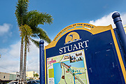 City sign in the historic downtown of Stuart, Florida. The tiny hamlet was founded in 1870 and was voted the Happiest Seaside Town in America by Coastal Living.
