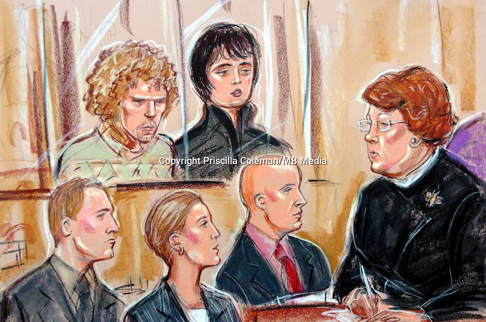 ©PRISCILLA COLEMAN.SUPPLIED BY PHOTONEWS SERVICELTD 04.02.05.DRAWING SHOWS PETE DOHERTY AND CO DEFENDENT WASS AT ISLINGTON AND HIGHBURY MAGISTRATES COURT WHERE THEY ARE FACING CHARGES OF THEFT AND ASSAULT..SEE STORY.