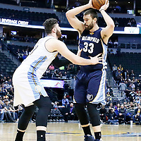01 February 2016: Denver Nuggets center Jusuf Nurkic (23) defends on Memphis Grizzlies center Marc Gasol (33) during the Memphis Grizzlies 119-99 victory over the Denver Nuggets, at the Pepsi Center, Denver, Colorado, USA.