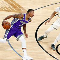 08 October 2017: Los Angeles Lakers guard Tyler Ennis (10) defends on Sacramento Kings guard George Hill (3) during the LA Lakers 75-69 victory over the Sacramento Kings, at the T-Mobile Arena, Las Vegas, Nevada, USA.