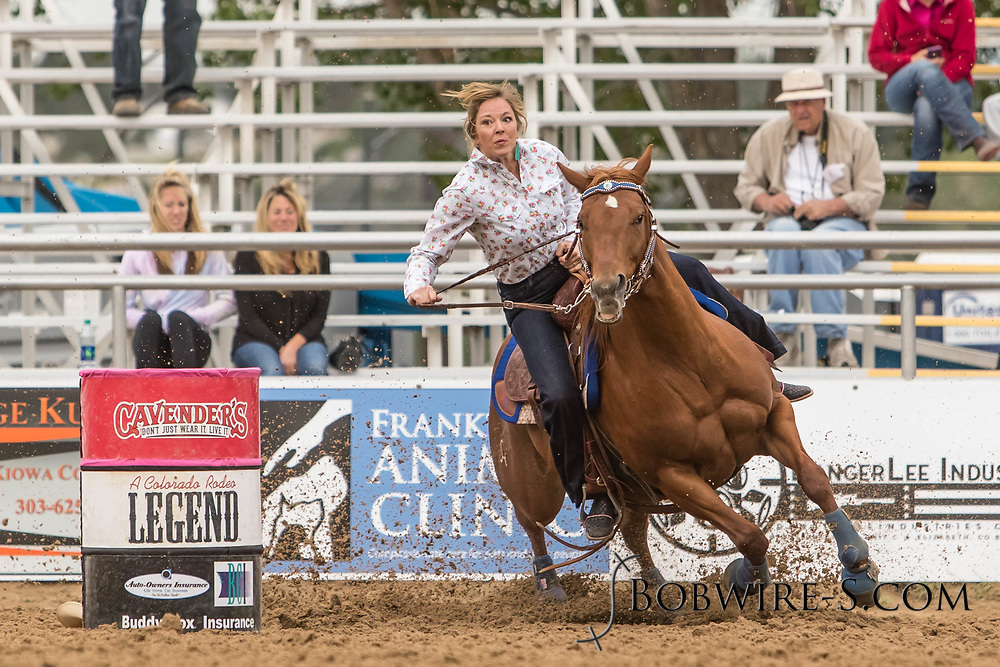 Lana Randall makes her barrel racing run during slack at the Elizabeth Stampede on Sunday, June 3, 2018.