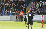 Ayr's Michael Moffat rushes to celebrate after scoring the goal which put his side 2-1 up and secured promotion - Brechin City v Ayr United, IRN BRU Scottish Football League 1st/2nd Division Play Off Final 2nd leg at Glebe Park..© David Young Photo.5 Foundry Place.Monifieth.Angus.DD5 4BB.Tel: 07765252616.email: davidyoungphoto@gmail.com.http://www.davidyoungphoto.co.uk