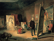 Portrait of Sir Francis Grant in his Studio', 1866. John Ballantye (1815-1897) British painter.  Grant (1803-1878) Scottish painter, President of the Royal Academy 1866-1878,  at work on large canvas,  sitter's chair on rostrom centre left.