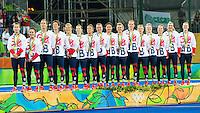 RIO DE JANEIRO -  Goud voor GB na de finale tussen de dames van Nederland en  Groot-Brittannie (3-3) in het Olympic Hockey Center tijdens de Olympische Spelen in Rio.  GB wint na shoot outs .COPYRIGHT KOEN SUYK