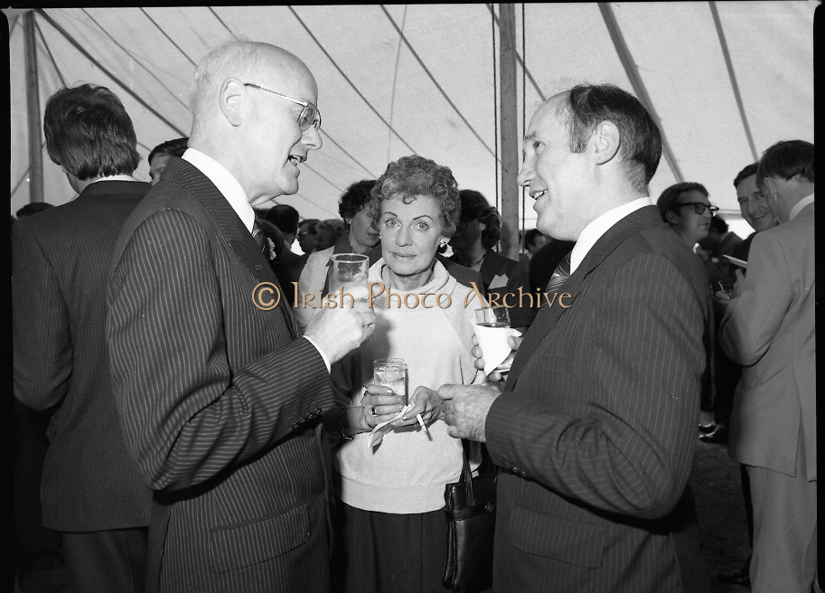 Guests and staff at the US Embassy in Phoenix Park, Dublin, celebrate American Independence Day..1980-07-04.4th July 1980.04/07/1980.07-04-80..Photographed at the US Ambassador's Residence,  Phoenix Park...US Ambassador William V Shannon chats with a guest in marquee during festivities.