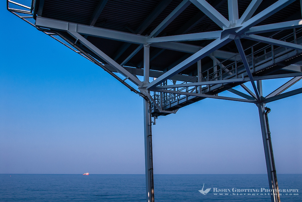 Russia, Sakhalin, Sea of Okhotsk. Sunset from the oil service vessel Skandi Hercules.