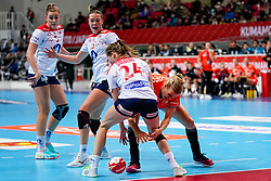 06-12-2019 JAP: Norway - Netherlands, Kumamoto<br /> Last match groep A at 24th IHF Women's Handball World Championship. / The Dutch handball players won in an exciting game of fear gegner Norway and wrote in the last group match at the World Handball  World Championship history (30-28). / Danick Snelder #10 of Netherlands, /nh24/, Kari Skaar Brattset #13 of Norway