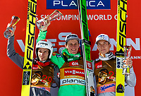 Hopp<br /> FIS World Cup<br /> Foto: Gepa/Digitalsport<br /> NORWAY ONLY<br /> <br /> PLANICA,SLOVENIA,20.MAR.16 - NORDIC SKIING, SKI JUMPING, SKI FLYING - FIS World Cup Final, ski flying hill, men, award ceremony. Image shows Robert Kranjec (SLO), Peter Prevc (SLO) and Johann Andre Forfang (NOR).