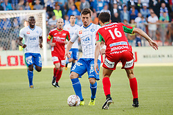 September 17, 2017 - Oostende, BELGIUM - Gent's Brecht Dejaegere and Oostende's Aleksandar Bjelica fight for the ball during the Jupiler Pro League match between KV Oostende and KAA Gent, in Oostende, Sunday 17 September 2017, on the seventh day of the Jupiler Pro League, the Belgian soccer championship season 2017-2018. BELGA PHOTO KURT DESPLENTER (Credit Image: © Kurt Desplenter/Belga via ZUMA Press)