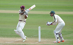 Somerset's Peter Trego pulls the ball. - Photo mandatory by-line: Harry Trump/JMP - Mobile: 07966 386802 - 17/06/15 - SPORT - CRICKET - LVCC County Championship - Division One - Day Four - Somerset v Nottinghamshire - The County Ground, Taunton, England.