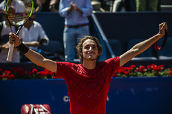 April 27, 2018 - Barcelona, Catalonia, Spain - STEFANOS TSITSIPAS (GRE) celebrates his victory against Dominic Thiem (AUT) in their quarter final of the 'Barcelona Open Banc Sabadell' 2018. Tsitsipas won 6:3, 6:2 (Credit Image: © Matthias Oesterle via ZUMA Wire)