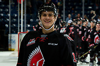 KELOWNA, CANADA - JANUARY 16: Alec Zawatsky #17 of the Moose Jaw Warriors smiles after the win against the Kelowna Rockets  on January 16, 2019 at Prospera Place in Kelowna, British Columbia, Canada.  (Photo by Marissa Baecker/Shoot the Breeze)