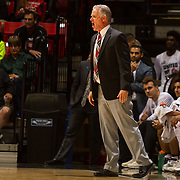 10 November 2017:  The San Diego State Aztecs men's basketball team opens up the season against San Diego Christian. San Diego State Aztecs head coach Brian Dutcher yells in a play to his team in the first half.The Aztecs beat the Hawks 91-52 at the half.<br /> www.sdsuaztecphotos.com