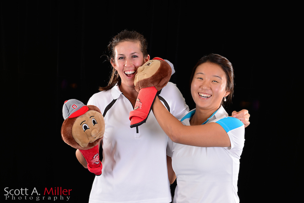 Emma Jandel, Inhong Lim during a portrait session prior to the Symetra Tour's Florida's Natural Charity Classic at the Lake Region Yacht and Country Club on Mar 20, 2013  in Winter Haven, Florida. ..©2013 Scott A. Miller