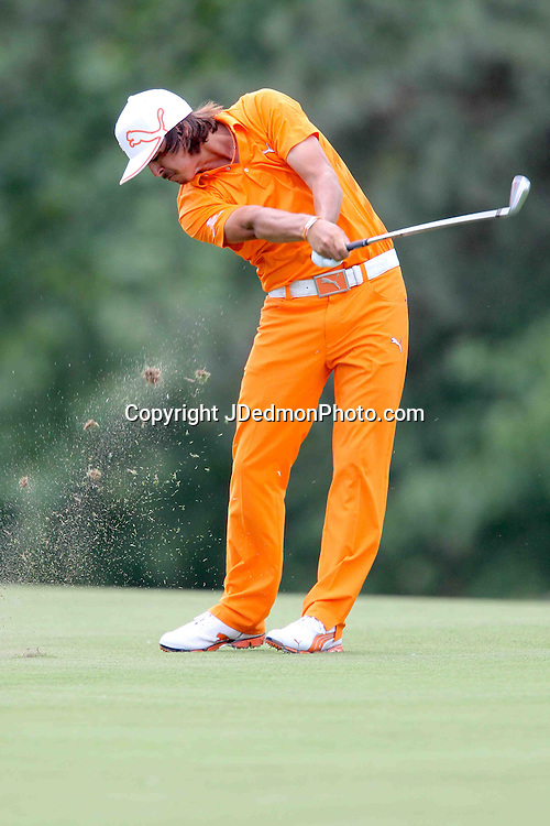 06 May 2012: Rickie Fowler during final round action at the the Wells Fargo Tournament at Quail Hollow Country Club, Charlotte, North Carolina. Rickie Fowler wins the tournament in a three-way playoff again D.A. Points and Rory McIlroy.