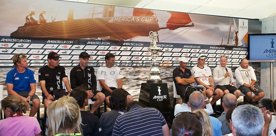 AC World Series,Cascais,Portugal.Fleet racing final , winner ENTZ,second Artemis,third oracle Racing 4.Skippers press conference .