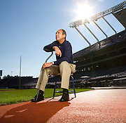Former Major League Baseball umpire Steve Palermo looks across the Kansas City Royals Kauffman Stadium on a sunny day in Missouri.  He worked in the American League from 1977 to 1991. His field career ended when he was shot in the back following his intervention in an altercation.