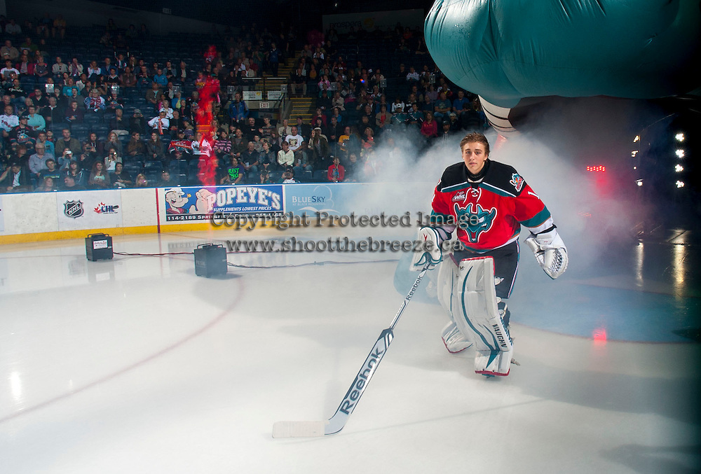 KELOWNA, CANADA - SEPTEMBER 21:  Jackson Whistle #1 of the Kelowna Rockets enters the ice during the regular season home opener against the Kamloops Blazers at the Kelowna Rockets on September 21, 2013 at Prospera Place in Kelowna, British Columbia, Canada (Photo by Marissa Baecker/Shoot the Breeze) *** Local Caption ***